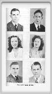Class of 1946 - First Row: Wilfrid Higgins, Donald Davis<br><br>Second Row:  Dorothy Elmore, Nathalie Dugan<br><br>Third Row, Bennie Thompson, Kenneth Thompson