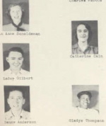 These did not graduate, but were in the 1951 Junior Class.Lu Anne Scheideman, LeRoy Gilbert, Benny Anderson, Gladys Thompson.   If you can eliminate Catherine Cain as she did graduate in 1952.